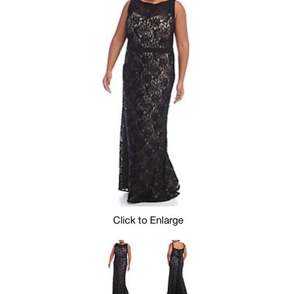 R&M Richards Plus size sequin lace train gown